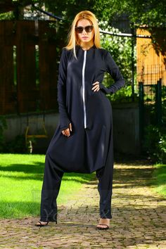 Elegant Harem Black Women Jumpsuit made of 80% cotton and 20% elastane with White Modern Zipper in the front. It is made of high quality natural fabrics / material, soft and breathy, so loose the jumpsuit to make you comfortable all the time.    ~~~~I create and made this Unique Jumpsuit with all my love! I think that every women should have her own style and I offer you stylish, comfortable, soft and beautiful item!~~~~    ~~~~Plus Size available without additional FEES~~~~    ~~~~All…