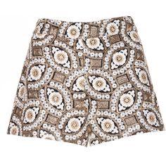 Alice + Olivia black/cream/gold Marisa Back Zip Shorts (€270) ❤ liked on Polyvore featuring shorts, cream shorts, gold shorts, embroidered shorts, back zipper shorts and alice olivia shorts