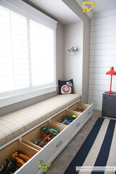 Organized Built-ins for Toys - The Sunny Side Up Blog Organized Built-ins for Toys - The Sunny Side Up Blog<br> There are so many fun ways to organize toys! Today I'm sharing some of the organized built-ins for toys that we designed for our new home. Kids Bedroom Storage, Living Room Toy Storage, Bedroom For Kids, Storage For Kids Toys, Bedroom In Living Room, Room For Two Kids, Storage Room Ideas, Baby Toy Storage, Small Space Bedroom