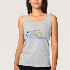 Autism Awareness Word Art Basic Tank Top Tank Tops