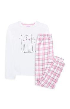 Primark - Pyjama rose à carreaux chat
