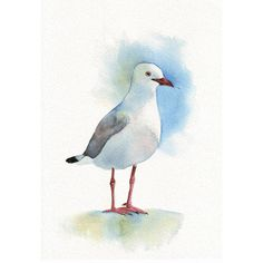 Seagull Painting beach ocean summer decor Print by Splodgepodge
