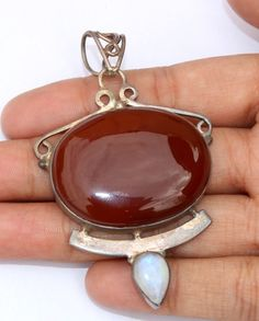 "2 3/4"" Natural Red Onyx 925 Solid Sterling Silver Oval Gemstone Pendant GCP33 #Unbranded #Pendant"