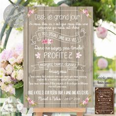 "Custom Wedding Welcome Table ""Merci Champêtre – bois"" - Home Page Wedding Party Games, Wedding Themes, Wedding Events, Weddings, Wedding Planning Checklist, Event Planning, Graduation Decorations, Wedding Decorations, Wedding Welcome Table"