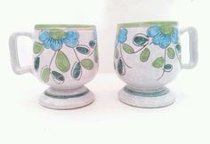 Handcrafted Coffee Mugs Terra Cotta Flower Glazed Set of 2 Signed Numbered