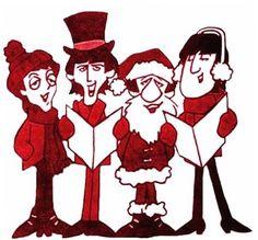 Cartoon Beatles carolers