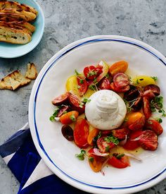 Australian Gourmet Traveller recipe for mixed tomato salad with burrata.