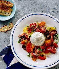 Mixed tomato salad with burrata