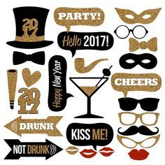 Add some fun to your 2017 New Years Eve party with this huge collection of printable photo booth props! Just print, trim and add sticks! This black and gold glitter collection features the following images: 2017 Top Hat Bow Ties (2) Masquerade Masks (2) Moustache Sunglasses Smoking pipe Glasses (3) Drunk & Not Drunk arrows Noise Maker Glitter 2017 Martini Glass Lips (4) Talk Bubble - Kiss Me! Talk Bubble - Happy New Year Talk Bubble - Hello 2017! Talk Bubble - CHEERS Talk Bubble - PARTY…