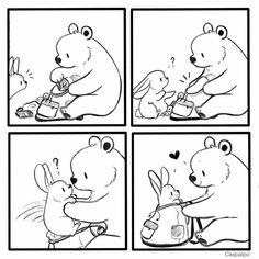 Cute Couple Comics, Couples Comics, Bunny And Bear, Frisk, Cute Bears, Love Can, Cute Couples, Authors, Rabbit