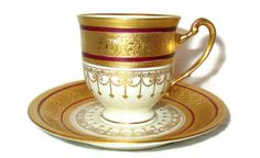 Vintage HUTSCHENREUTHER DEMITASSE Porcelain Footed Cup & Saucer Set Crown Lion ivory, Burgundy Red, Raised Gold China Tea Coffee Elegant