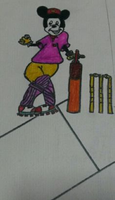 Micky  playing cricket