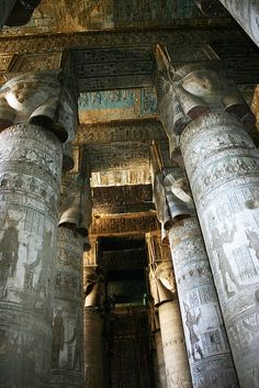 *THE EGYPTIAN CULTURE:   Dendera columns by howiemj. Temple of Dendera, Egypt