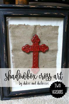 two versions of shadowbox cross wall art Cross Wall Art, Wall Crosses, Decor Crafts, Easy Crafts, Diy And Crafts, Shadow Box Art, Diy Art Projects, American Crafts, Diy Wall Art