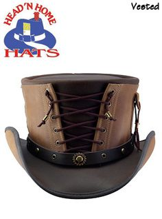 Steampunk Hats | Head & 39;N Home Hats Leather VESTED Steampunk Hat Brown