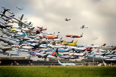 Composite shot of hundreds of planes taking off at Hanover Airport.