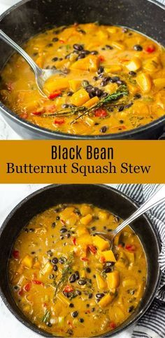 Black bean with sweet butternut squash and collard greens make this healthy stew so hearty and comforting! beans Black bean with sweet butternut squash and collard greens make this healthy stew so hearty and comforting! Veggie Recipes, Whole Food Recipes, Vegetarian Recipes, Cooking Recipes, Healthy Recipes, Chicken Recipes, Recipes With Beans Vegan, Vegan Black Bean Recipes, Vegetarian Stew