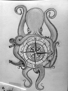 Octopus and compass in pencil. Future tattoo.