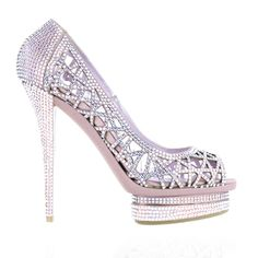 Le Silla - Peep Toe Court Shoe in Pink w/ Swarovski Crystals Details