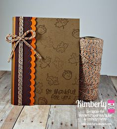DT Kimberly @ Twine It Up! by Annie's Paper Boutique shares a Thankful card using Spiced Pumpkin Trendy Twine, Happy Thanksgiving stamp set and the Hello Fall Planner stamp set from APB.