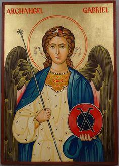 Hand-Painted Byzantine Orthodox Icon of St Archangel Gabriel