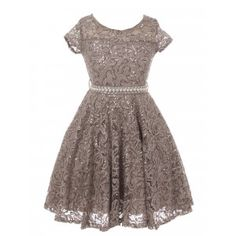 e4e1c4bf617ff Big Girls Silver Sequin Embellished Lace Pearl Belt Skater Christmas Dress 8-14  Girls Christmas