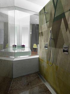 Papel de parede geométrico com motivos para banheiros DEFRAG ME by Wall