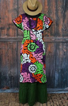 Multi Color Hand Embroidered, Huipil Jalapa Oaxaca Mexico Frida Santa Fe Style #Handmade #MexicanDress