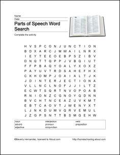 Parts of Speech Wordsearch, Crossword Puzzle, and More: Parts of Speech Wordsearch