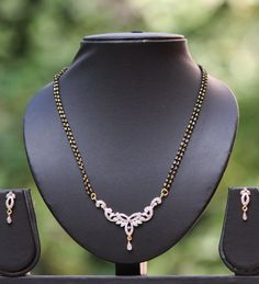American Diamond Mangalsutra set with earrings | India1001.com