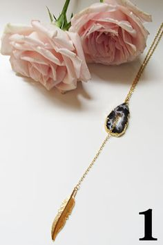 Agate Feather Lariat Necklace