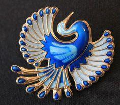 Vintage David Anderson Brooch Enamel Sterling Silver Bird of Paradise  - MINT! #DavidAndersen