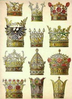THE 12 CROWNS (Art Nouveau decorative models by A. Seder Olive crown / Lilies crown / Roses Crown / Laurel crown (with Prussian eagle) / Thistle crown / Oak crown / Lily-of-the-valley crown / Daisy crown / Pomegranate crown / Spring flowers crown / Peacock crown / Palm crown /  artwork by the Austrian artist prof. Anton Seder (1850-1916) J. Hofman Verlag Stuttgard, circa 1890