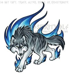 Prowling Blue Flame Wolf Commission by WildSpiritWolf on DeviantArt