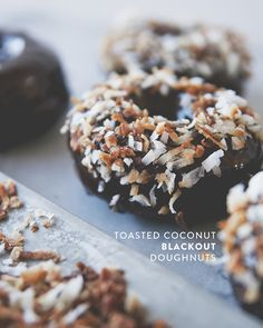 BLACKOUT DOUGHNUTS WITH TOASTED COCONUT + DARK CHOCOLATE GLAZE // The Kitchy Kitchen