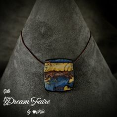 https://flic.kr/p/xHETQZ | Dog Days of Summer Square - Front | Handmade Polymer Clay Pendant and Leather Necklace