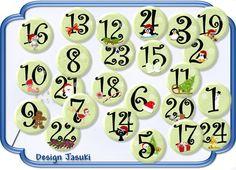 24 Button grün,Adventszahlen, Adventskalender von Jasuki auf DaWanda.com