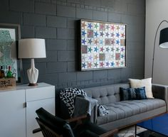 Pretty Cinder Blocks Look Dc Metro Industrial Living Room Image Ideas With  Arc Lamp Bachelor Pad