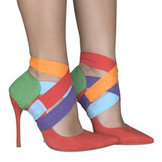 Add some color to your life! The possibilities with this style are endless, it looks good with any color and it is very easy to tie! Recycled Shoes, Shoe Cupboard, Shoe Makeover, Stiletto Heels, High Heels, Shoe Image, Decorated Shoes, Shoe Clips, Pretty Shoes