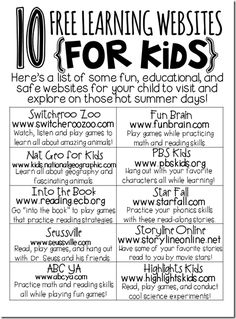 free learning sites for kids!free learning sites for kids! Learning Websites For Kids, Learning Sites, Fun Learning, Learning Activities, Learning Tools, Classroom Websites, Children Websites, Summer Activities, Teacher Websites