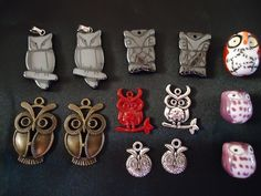 This is for 12 assorted owl charms:   Your lot will consist of   4 Hematite Owls   4 Tibetian Silver Owls   3 Porcelain Owls   2 Antique Bronze Owls