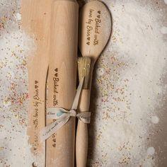 Personalised Wooden Baking Utensils Baking Set by LindsayInteriors Baking Set, Baking With Kids, Gifts For Mum, Mother Day Gifts, Baking Utensils, Cotton Drawstring Bags, Pastry Brushes, Rolling Pin, Spoon