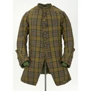 "Coat, Scotland, c. 1740. ""This rare tartan coat, dating from c.1740, has been carefully cut so that the pattern would line up when sewn together. Mid 18th century coats generally covered the thigh, but this one is cut to the hips to allow it to be worn over a belted plaid. After the failure of the Jacobite Rebellion in 1746 the government banned Highland dress, including tartan, making Highland clothing from the 18th century very rare."" Glasgow Museums"