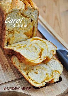 Yam sweet potato swirl bread 地瓜夾餡麵包。麵包機