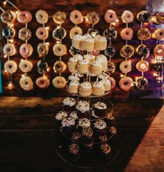 Donut wall and cupcake tower Our Wedding, Destination Wedding, Dream Wedding, Traditional Cakes, Hoi An, All You Need Is, Cake Pops, Wedding Designs, Yummy Treats