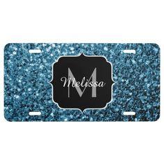 SOLD Beautiful Baby blue glitter sparkles Monogram License Plate by #PLdesign #BabyBlueSparkles #SparklesGift