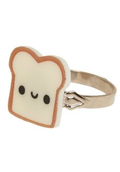 An adorable ring with a cartoon piece of bread on it from ModCloth.