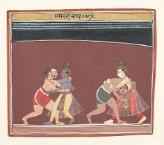 Kamsa sent Canura and Mushthika, two mountainlike wrestlers who had limbs as strong as lightning, to confront the youthful Krishna and Balarama. The climactic moment is statically presented with great formal drama