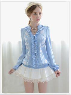 Morpheus Boutique  - Blue Button Down Long Sleeve Celebrity Floral Shirt
