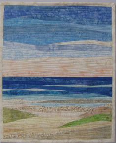 Landscape Quilt Patterns Free to Print Ocean Quilt, Beach Quilt, Patchwork Quilting, Quilting Ideas, Coastal Quilts, Country Quilts, Turtle Quilt, Watercolor Quilt, Landscape Art Quilts